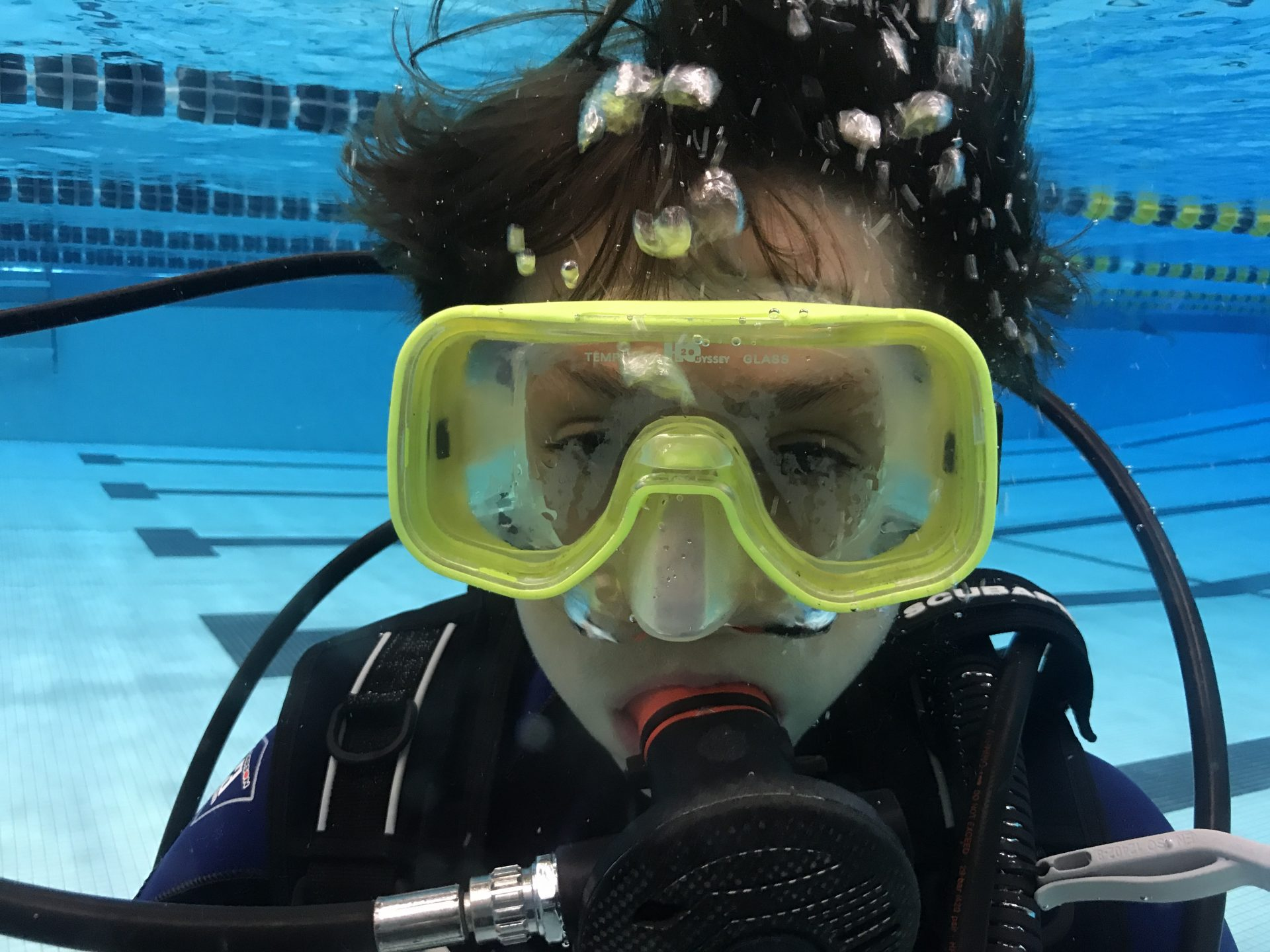 close up scuba diver in pool
