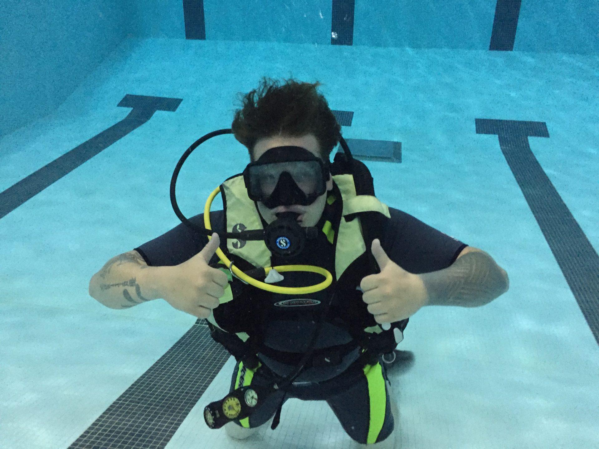 scuba diver in pool