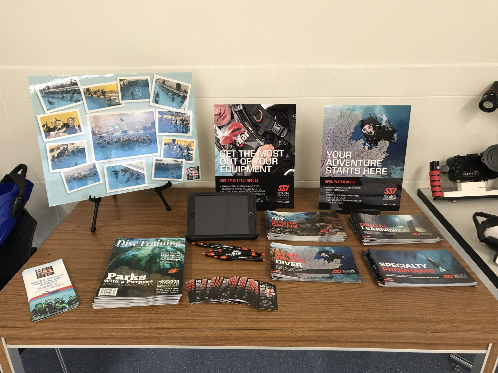scuba diving brochure and handouts on display