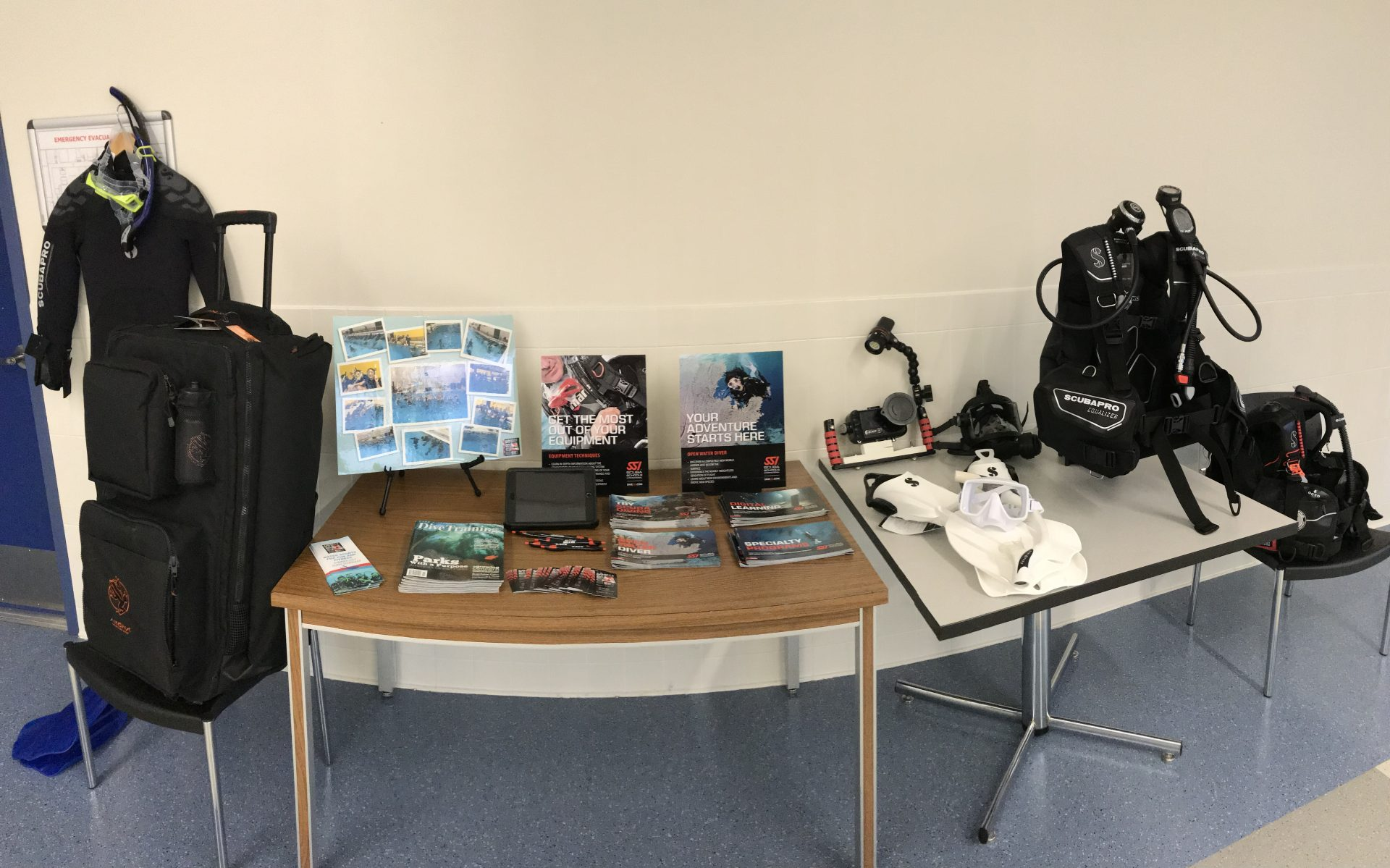 scuba diving gear and handouts