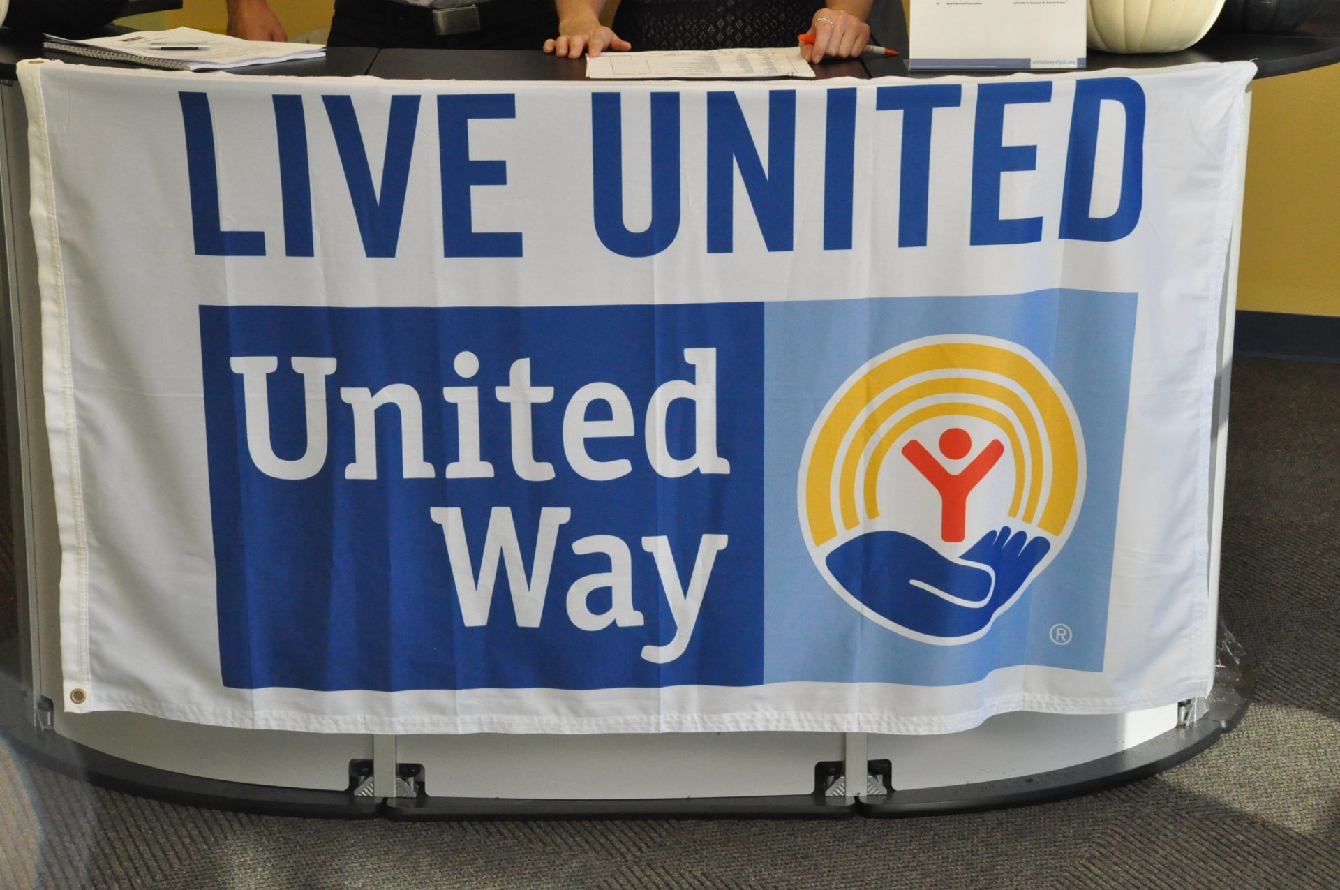 Live United United way banner on table