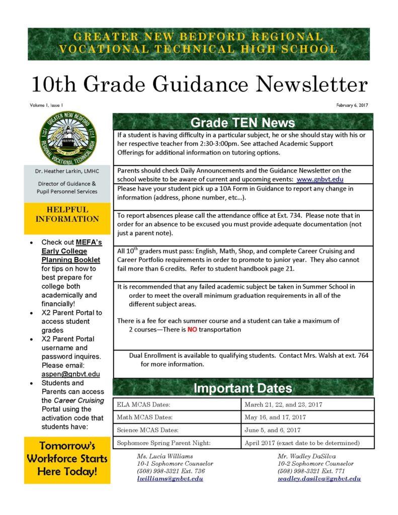 grade 10 newsletter