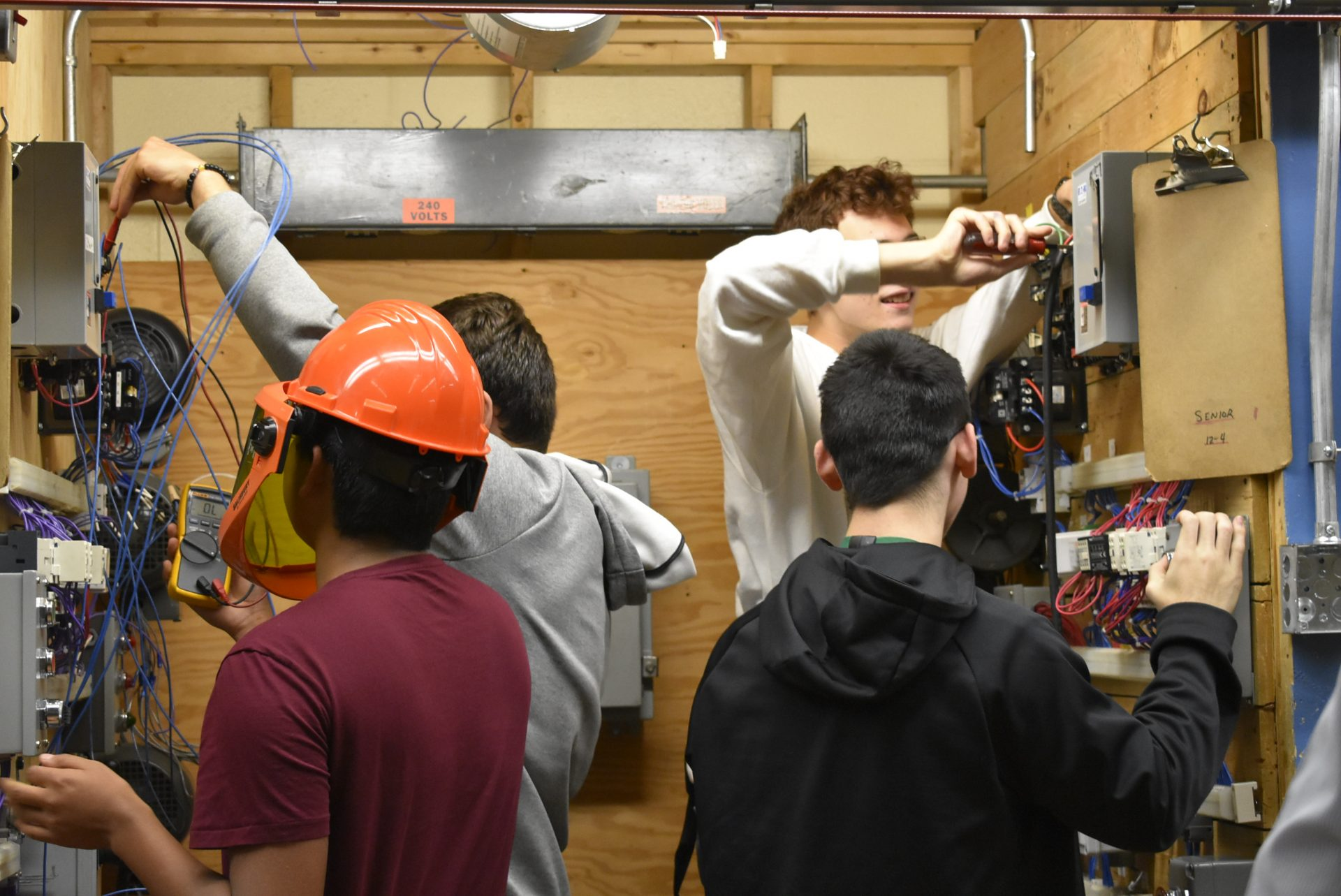 Electrical Students working together
