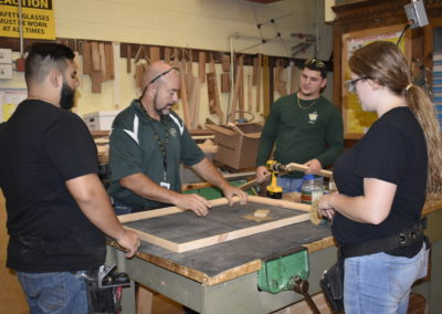 Carpentry class with teacher