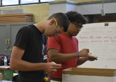 Carpentry students working