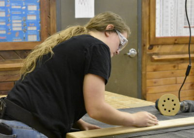 Carpentry student working on framing