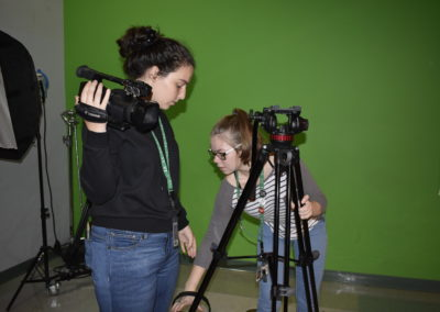Media Technology students setting up video equipment
