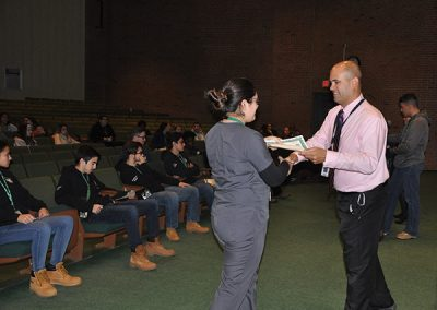 Dental student receiving award