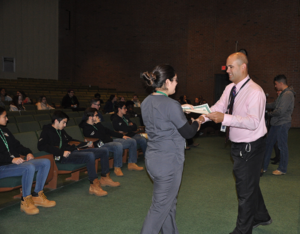 Dental student receiving award