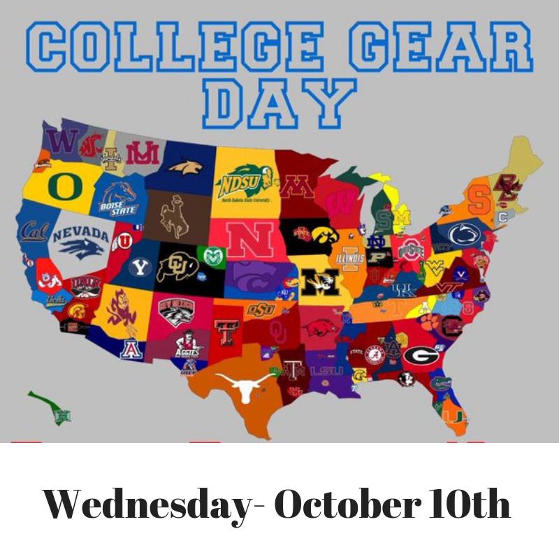college gear day for spirit week 10/10/18