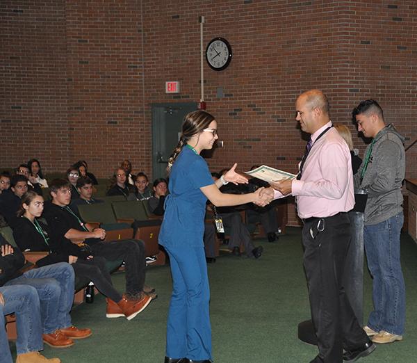 Medical students receiving award