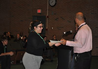 Student receiving renaissance award