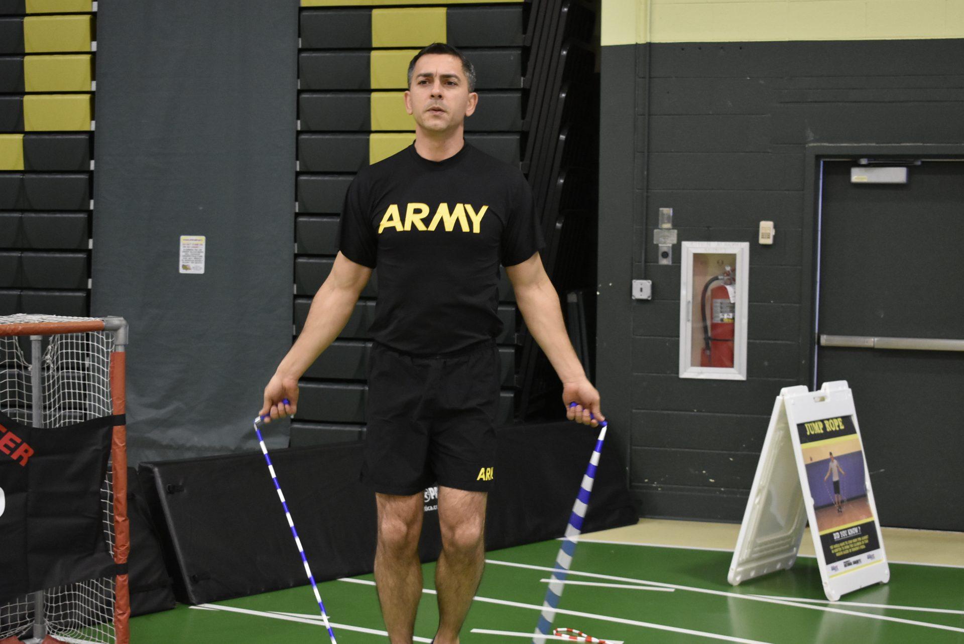 Army member jump roping