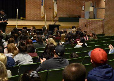 Students listening to speech