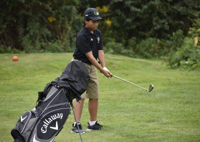 student preparing a swing