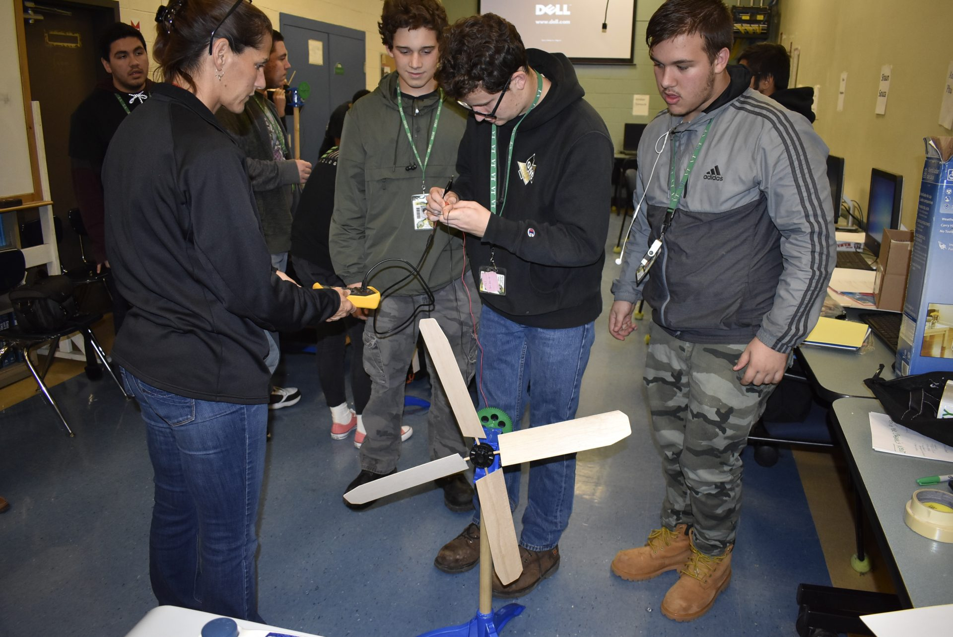 students building a turbine
