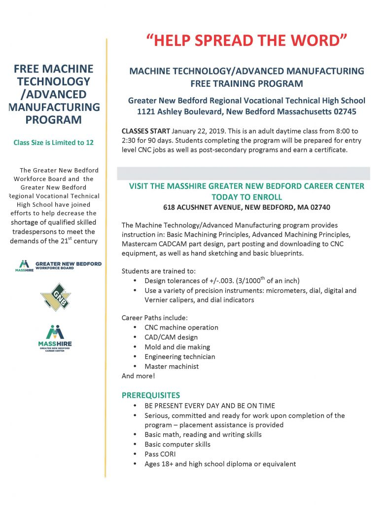 advanced manufactoring 2019 signups by Jan 22