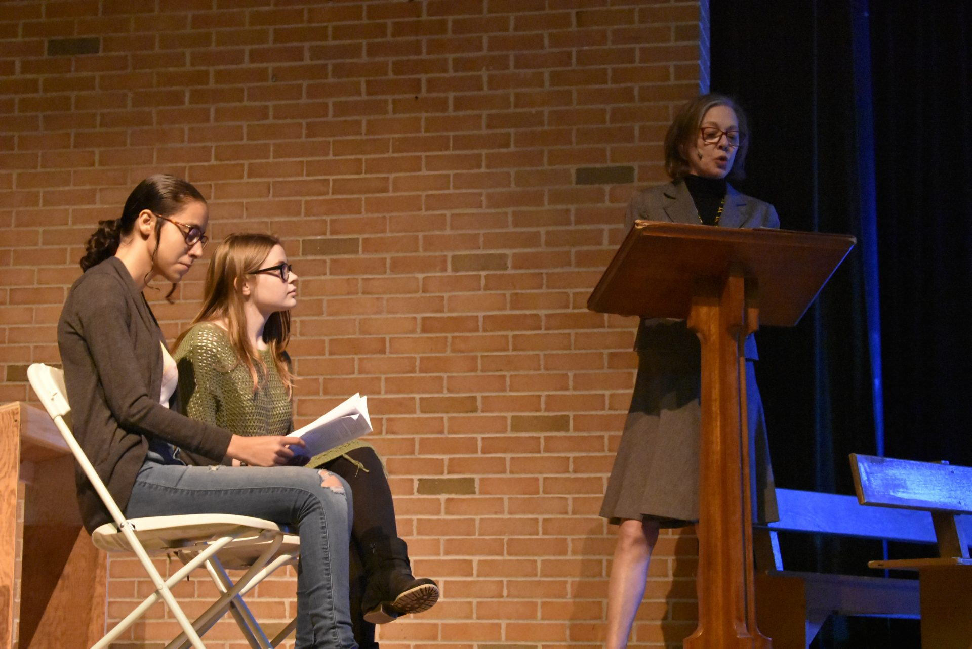 VTTC Actors on Stage with Ms. Morrissey (Practicing)