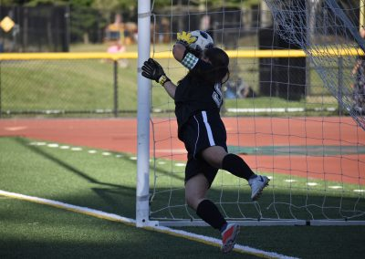 Goalie blocking ball in Soccer
