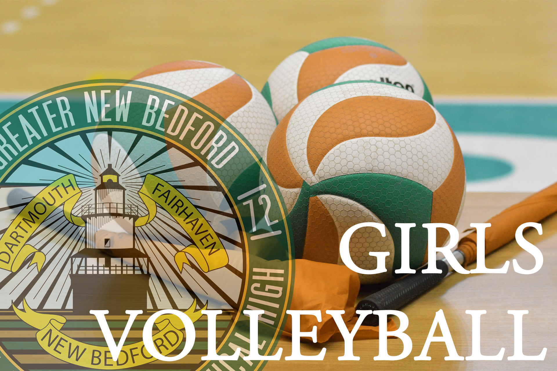 Fall Sports Girls Volleyball image with gnbvt logo faded on left