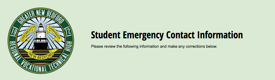 Header for the student emergency contact form - click here to fill out