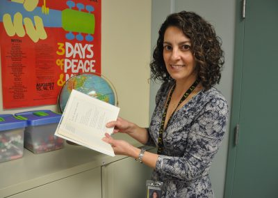 """Ms. Koczera is an English teacher at GNB Voc-Tech who's favorite poem is """"Love After Love"""" by Derek Walcott. A good line to give you an idea of what it's all about is """"The time will come when, with elation, you will greet yourself arriving at your own door, in your own mirror . . . you will love again the stranger who was yourself."""""""