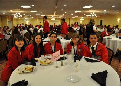 GNBVT students eating dinner during Skills USA