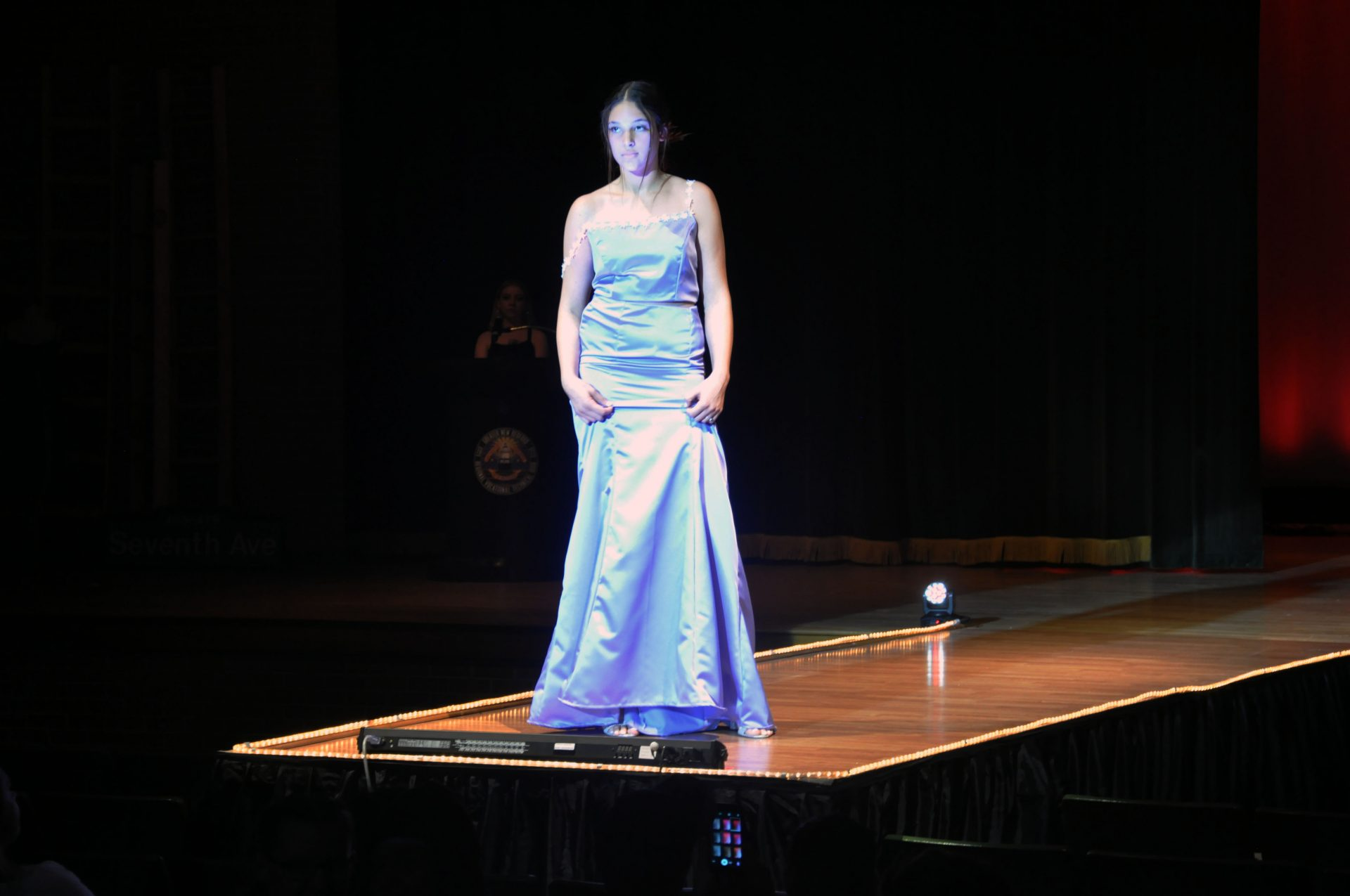 fashion show models blue dress
