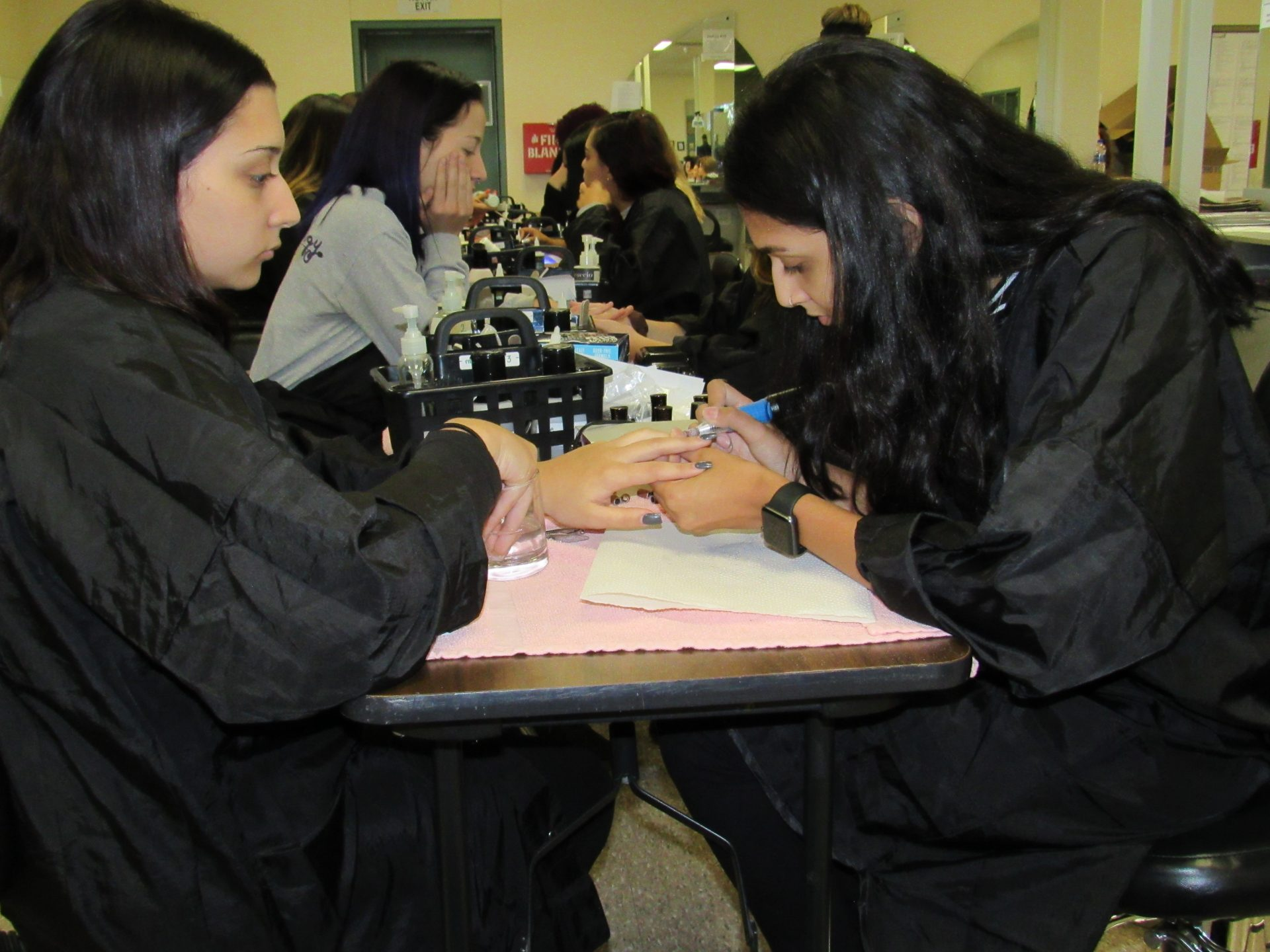 Students Designing each others nails