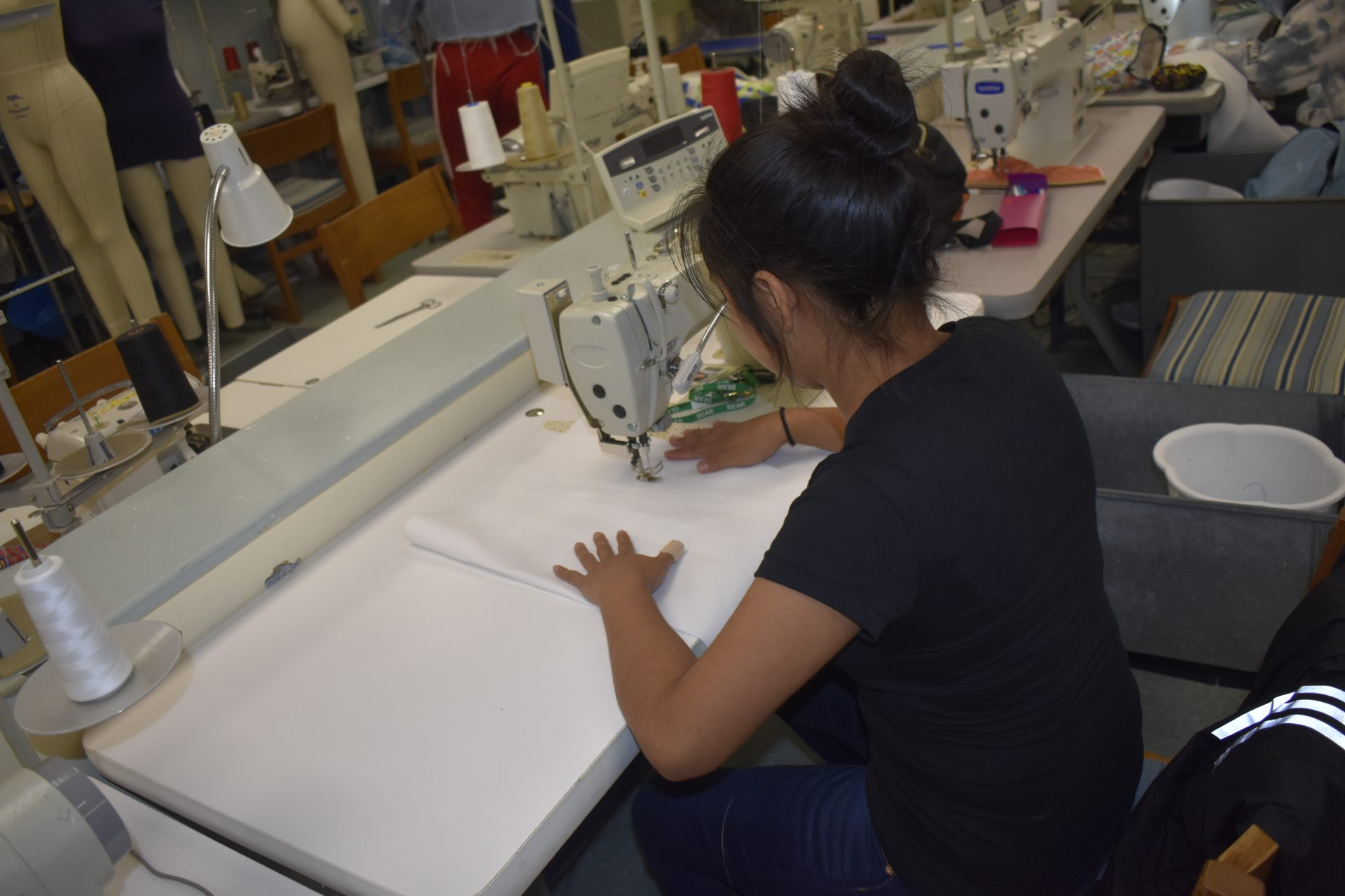 FD student working on fabric