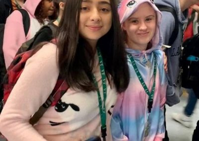 two students dressed up for pajama day