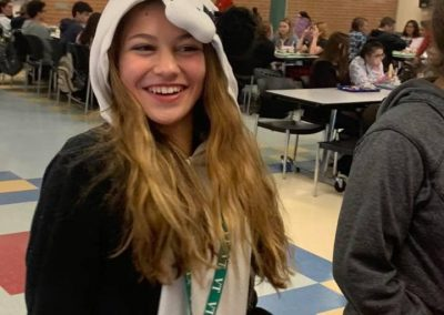A student dressed up for pajama day