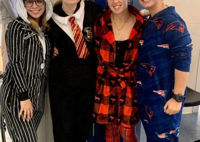 A group of students dressed up for pajama day