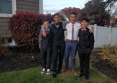 Homecoming group photo of friends