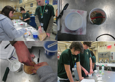 Environmental students testing soil