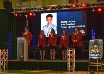 Dakota speaking at the skills usa ceremony