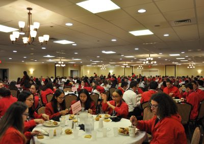 students eating at the skills usa ceremony