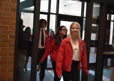 SkillsUSA Students Walking Into Main Building