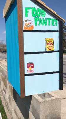 Abby's food pantry - painting on the outside and back