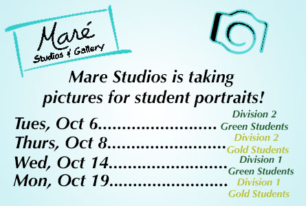 Mare Studios is taking pictures for student portraits starting October 6
