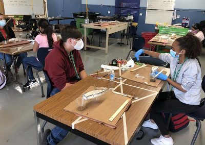 marine exploratory students in hands on lesson