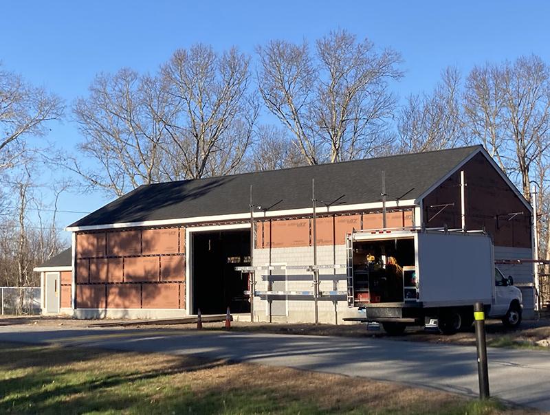 New maintenance garage Incomplete siding