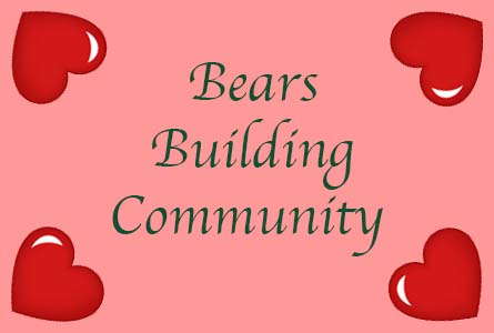 "a pink background with four red hearts in the corners. In green text, ""Bears Building Community"""