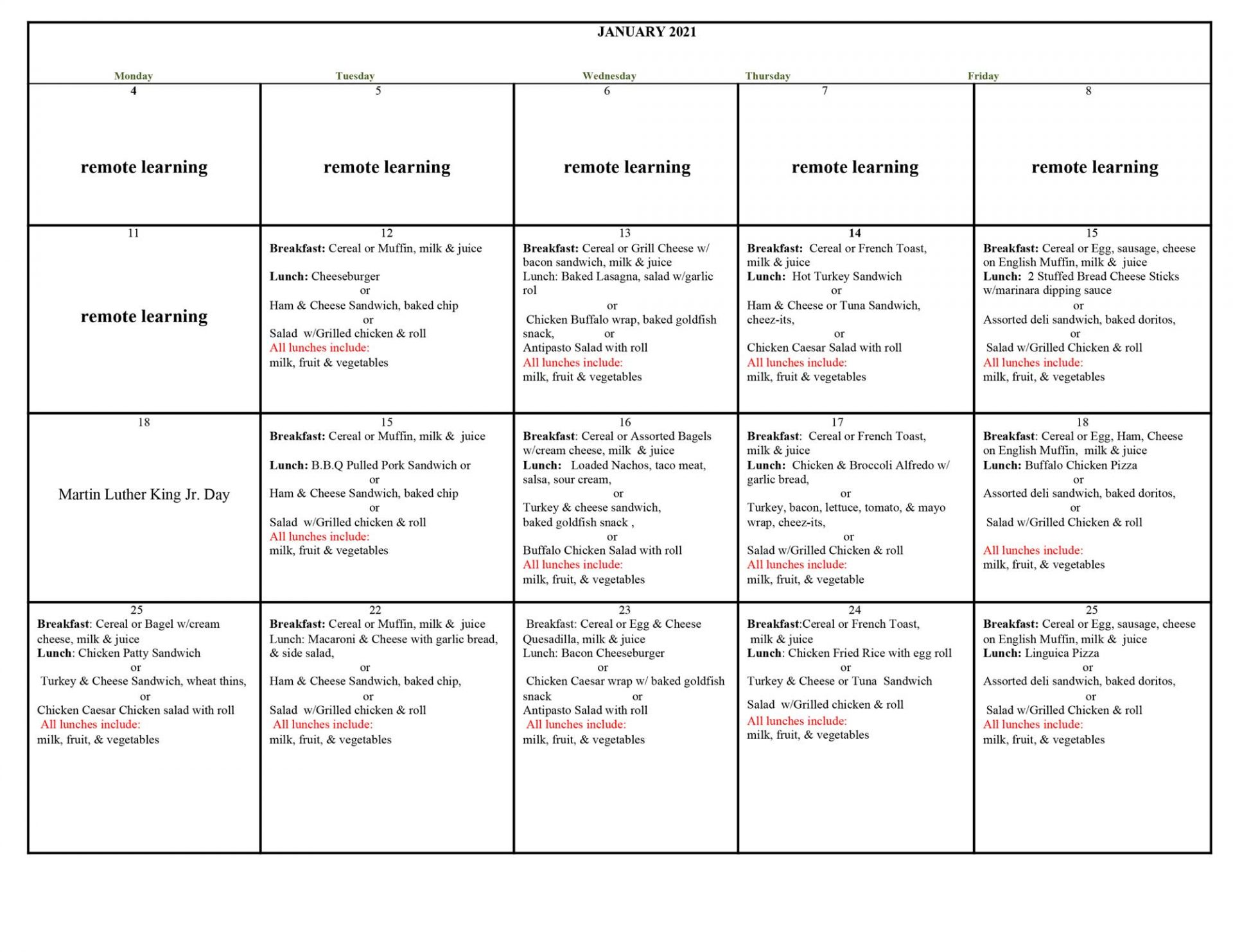 January 2021 Student Lunch Menu, please download for a readable version