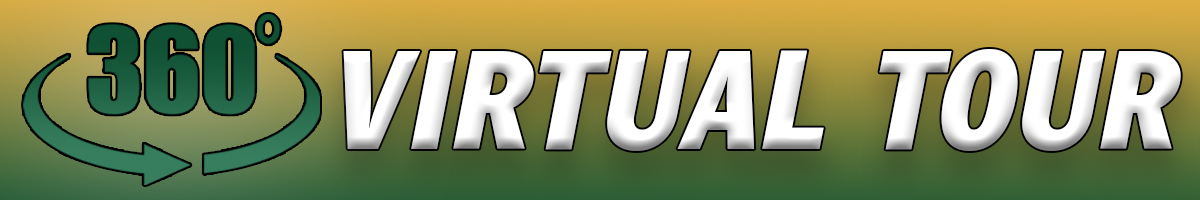 """The number 360 followed by the degree sign with the words """"Virtual Tour"""" on top of a green and gold gradient background"""