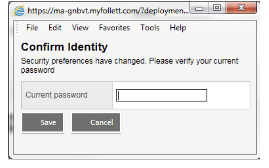 Picture about how to confirm identity with current password in Aspen