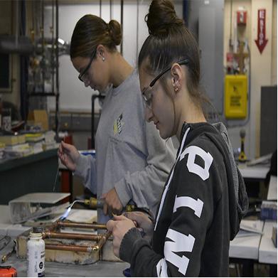 HVAC students working