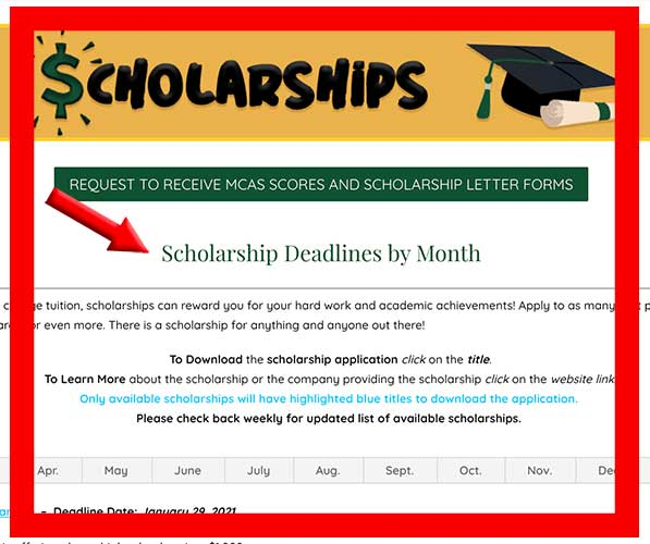 scholarships page screen shot