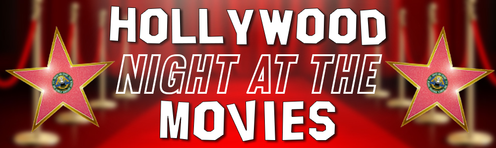 Hollywood Night at the Movies; two pink Hollywood stars on either side of the text; red carpet background.