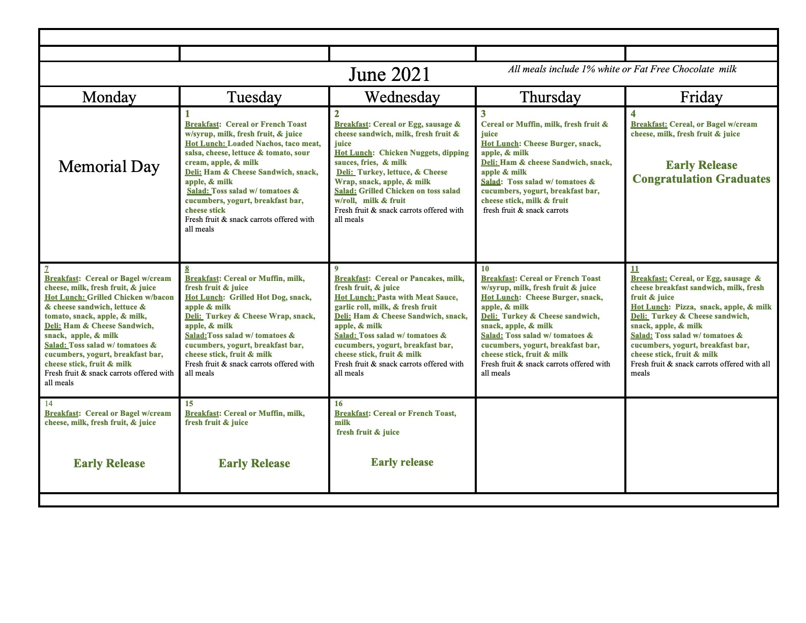 June 2021 Lunch Calendar - click on button to download pdf